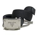 プラダ メンズ メタルバックル ゴムベルト 黒 #95 PRADA