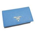 プラダ サフィアーノレザー 外ポケット付 カードケース(名刺入れ) 水色(MARE) 1MC122 PRADA