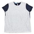 プラダ レース Tシャツ 白×ネイビー #XL PRADA