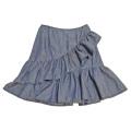 プラダ デニム フリルスカート ブルー #38 PRADA