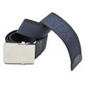 プラダ メンズ ロゴがお洒落 ナイロンカジュアルベルト 濃紺×黒 #90 PRADA