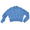 プラダ ふんわりモヘアケーブルニットセーター ブルー #36 PRADA