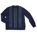 プラダ メンズ カシミア×レザー 贅沢なセーター ネイビー #56  PRADA
