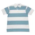 プラダ メンズ 鹿の子 ポロシャツ ボーダー ブルー #M  PRADA