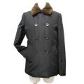 プラダ ヌートリアファー襟 中綿入りショートジャケット 黒 #40 PRADA