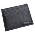 プラダ メンズ サフィアーノレザー 名刺入れ(カードケース) 黒×グレー 2MC223 PRADA