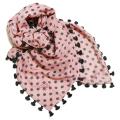 シトラス インド製 ポンポン付き ドット柄 ウールストール(スカーフ) ピンク CITRUS 当店オリジナル