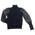 アクアカシミア カシミア100%レーススリーブタートルセーター 黒 #XS AQUA Cashmere