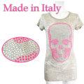 イタリア製 きらきらラインストーンスカル柄 Tシャツ ベージュ×ピンク