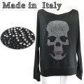 イタリア製 きらきらラインストーンスカル柄ドルマンスリーブカットソー(長袖) 黒