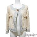 コスミカ イタリア製 スパンコール×スウェット ショートジャケット グレー×ピンク #S・M kosmika