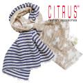 シトラス インド製 ビーズ刺繍×ボーダー コットン×リネン ストール ネイビー×ベージュ CITRUS