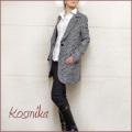 コスミカ イタリア製 ツイードジャケットコート 黒×白 #M #L kosmika