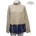 アイボリーズ イタリア製インポート ニードルパンチグラデーション ハイネックセーター(ニット) ベージュ×紺 #38 Ivories