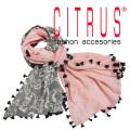 シトラス インド製 ポンポン付 ペイズリー×ヘリンボーン ウールストール ピンク×グレー CITRUS 当店オリジナル