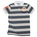 88Tees メンズ ボーダー ポロシャツ チャコールグレー #S