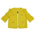 ピンコ コットンツイード 半袖ジャケット 黄色 #38 PINKO