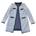 ピンコ ツイード ロングジャケット ブルー #40 #42 PINKO