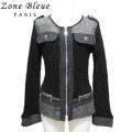 ゾーンブルーパリ  フランス製 シャネルっぽい上品さ ジャケット 黒 Zone bleue paris