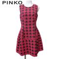 ピンコ イタリア製 千鳥格子 ノースリーブワンピース 赤×黒 #38 #40 PINKO