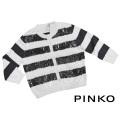 ピンコ コットン(綿)×スパンコール 七分袖カーディガン ボーダー 黒×白 #S PINKO