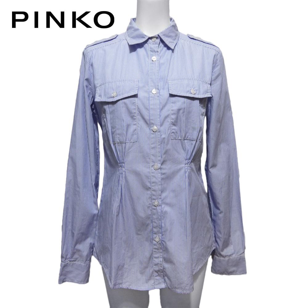 ピンコ コットン ストライプシャツブラウス 青×白 #40 PINKO