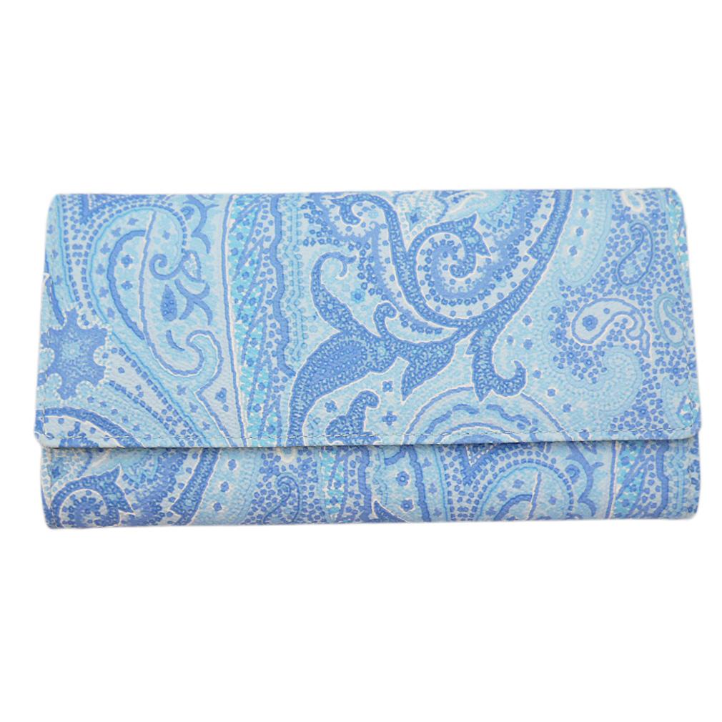 エトロ ペイズリー柄 二つ折り長財布 ブルー ETRO