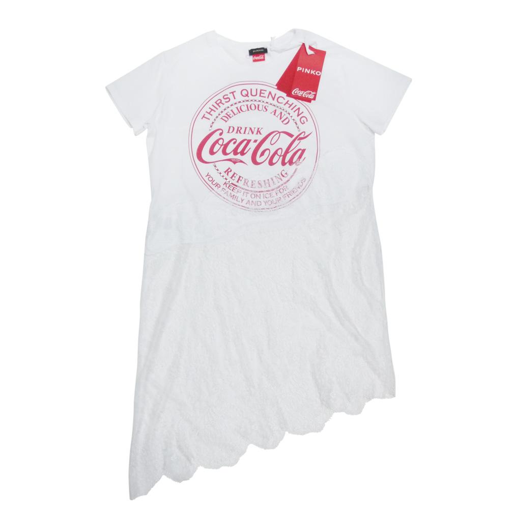 ピンコ コカコーラcocacolaコラボ レースがセクシーなTシャツ  白 #M PINKO