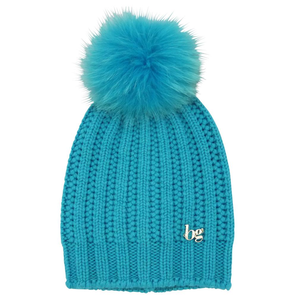 ブルーガール FOXファーポンポン付 ウールニット帽子 青緑 blugirl
