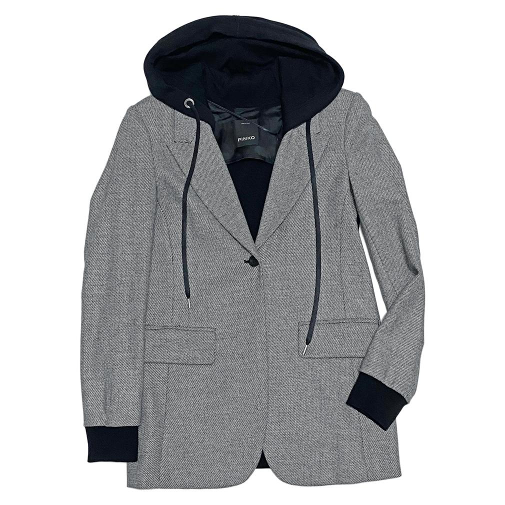 ピンコ フード付 ツイード テーラードジャケット 黒 #38 PINKO
