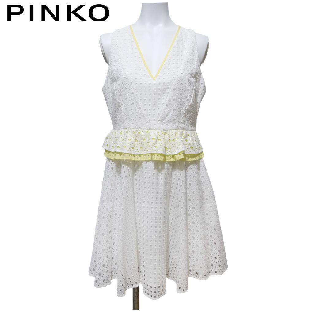 ピンコ 白いレースが爽やか コットンワンピース #40 PINKO