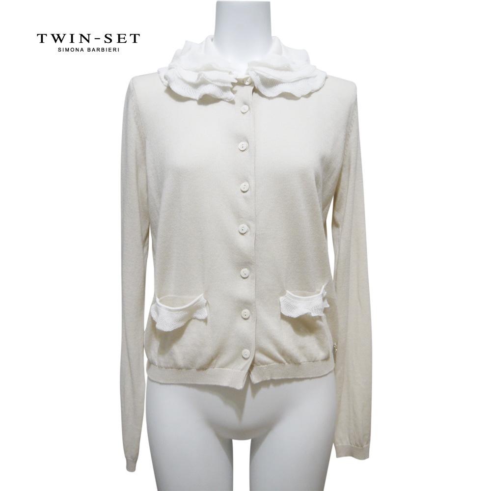 ツインセット ふわふわ襟が可愛い コットンカーディガン ベージュ #XS TWIN-SET
