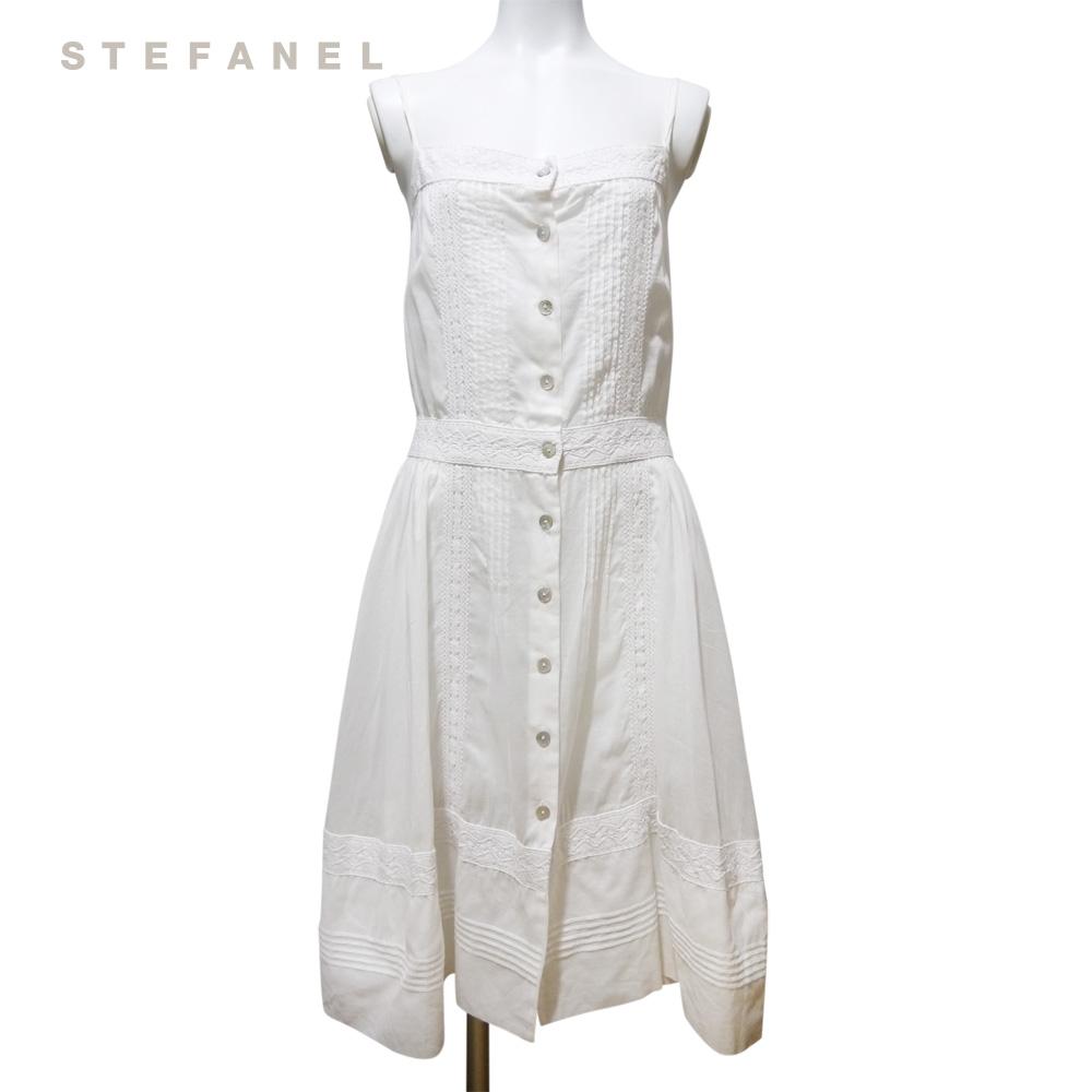 ステファネル 清楚なコットンワンピース 白 #38 STEFANEL