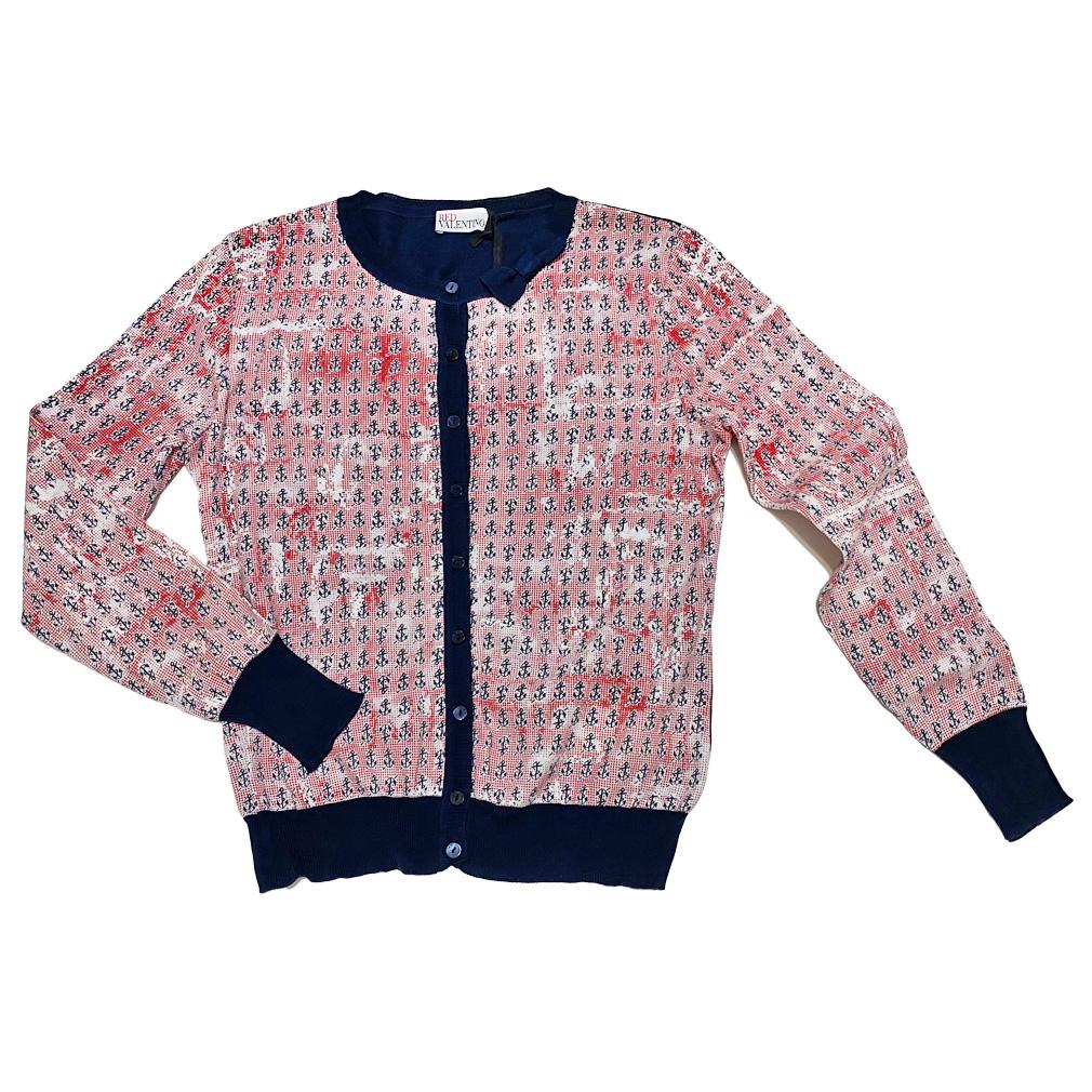 レッドヴァレンチノ マリン カーディガン&チューブトップセット 赤×紺 #M RED VALENTINO