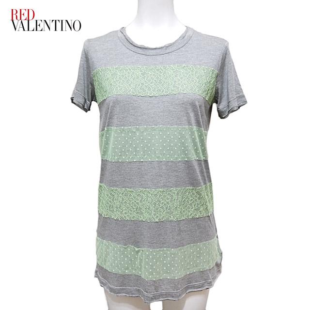 レッドヴァレンチノ レース Tシャツ ネオングリーン×グレー #XS・S RED VALENTINO