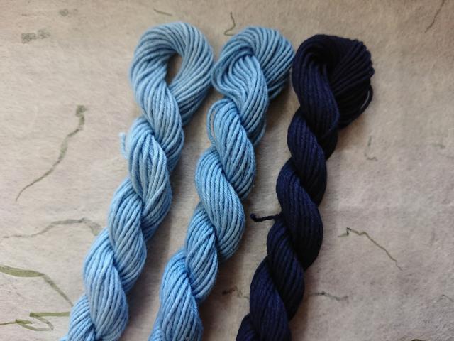 藍染 糸 浅葱 縹色 勝色 3色