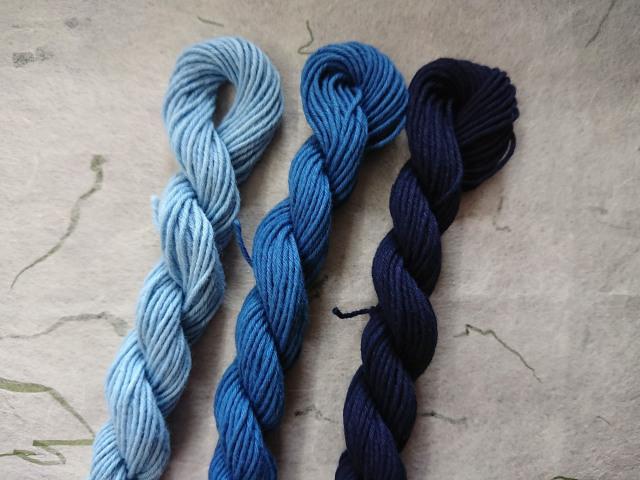 藍染 糸 三色 水色 藍色 勝色