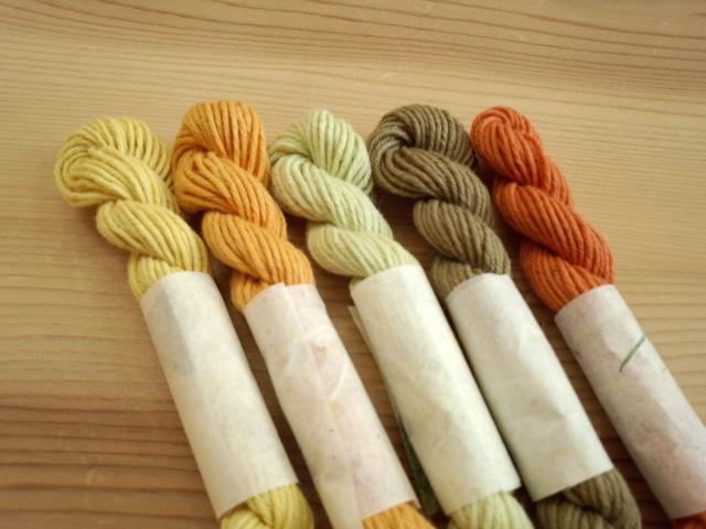 オリーブ染め 糸 草木染 5色