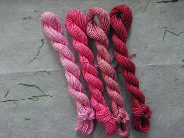 紅花染め 茜染め 糸