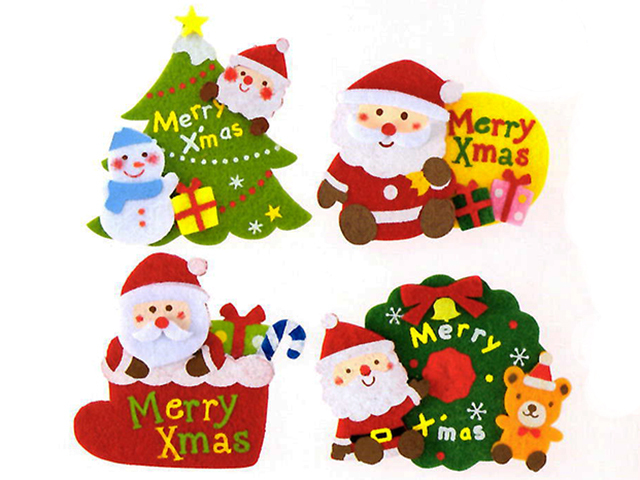 にぎやかクリスマスフェルトクリップ(4種アソート)