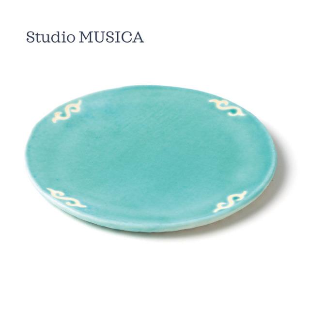トルコ青釉丸プレート【Studio MUSICA(児島和孝)】