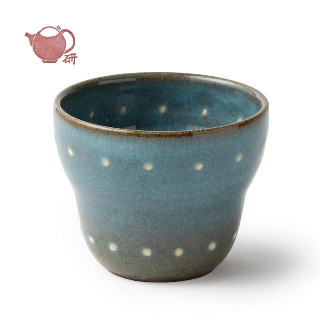 青磁フリーカップ(水玉)【うつわと手仕事の店 研(敦賀研二)】