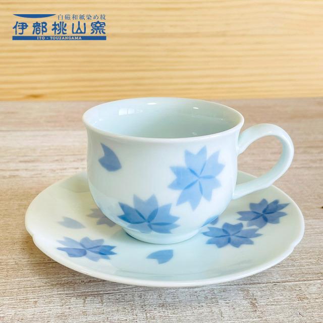 和紙染の桜カップ&ソーサー【伊都桃山窯(赤間厚子)】※受注生産