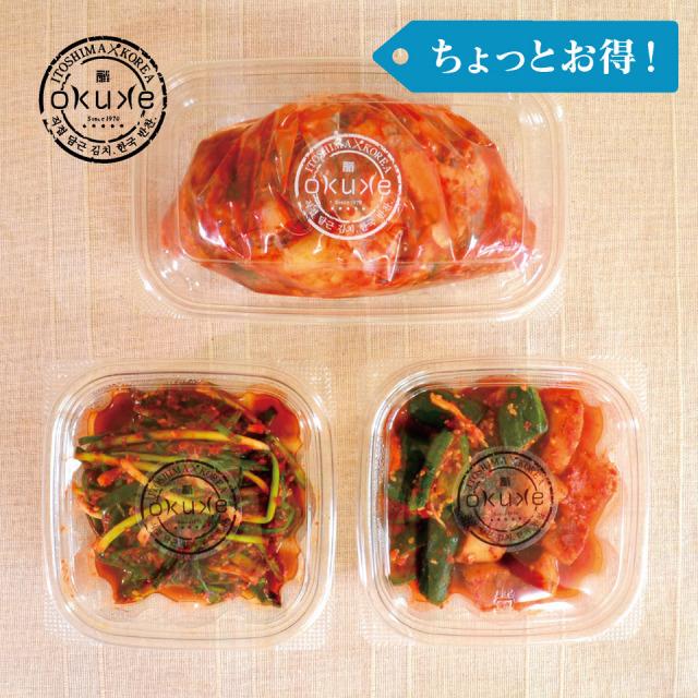 [ちょっとお得!]玉家のキムチセットA(白菜、葱、胡瓜&大根)【玉家のキムチ工房】