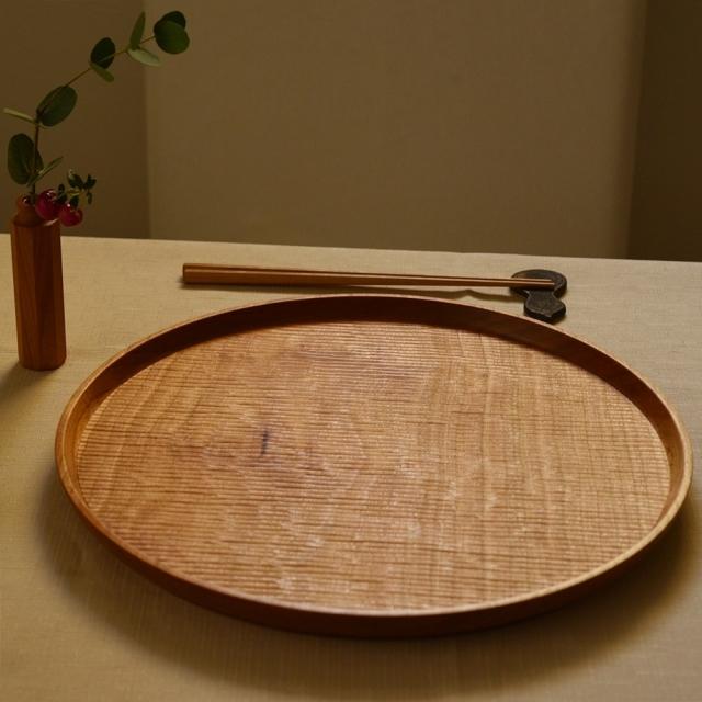 ふるいともかず 木製丸盆 30cm