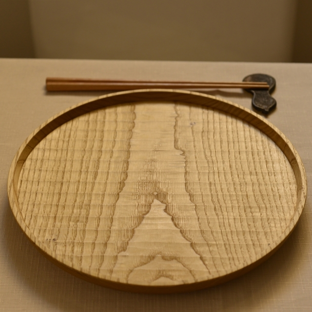 ふるいともかず 木製 丸盆 32.5~35cm