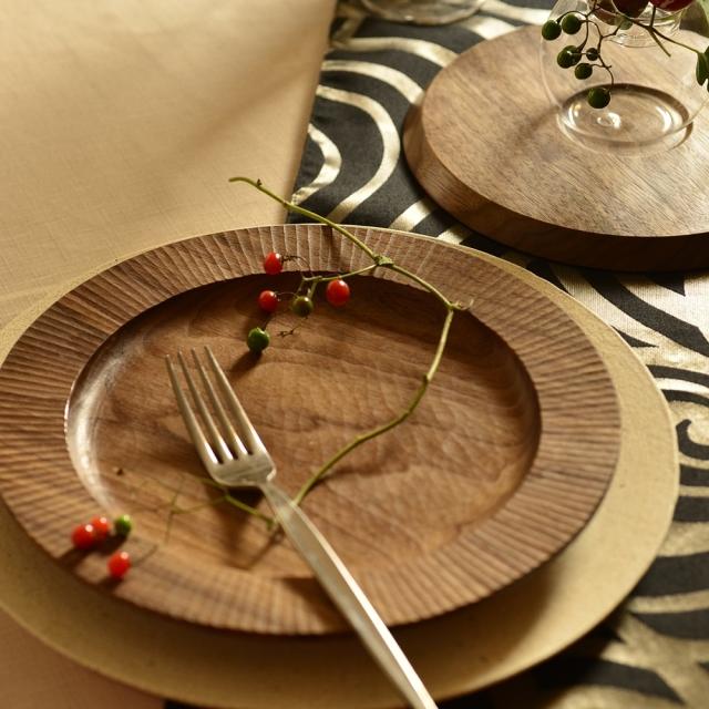 ふるいともかず 木製リム皿 飾り削り