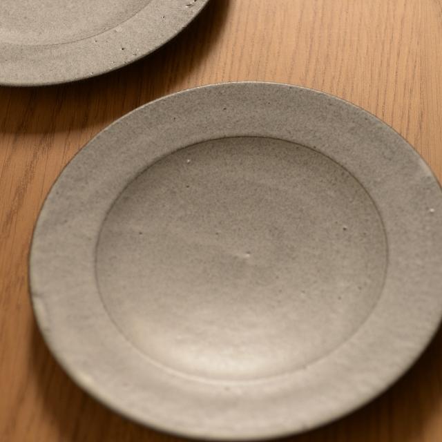 大野香織 グレー(おぼろ雲) リム小皿