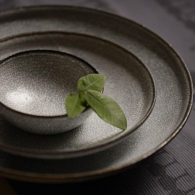 水野幸一 墨貫入(すみかんにゅう) 平鉢