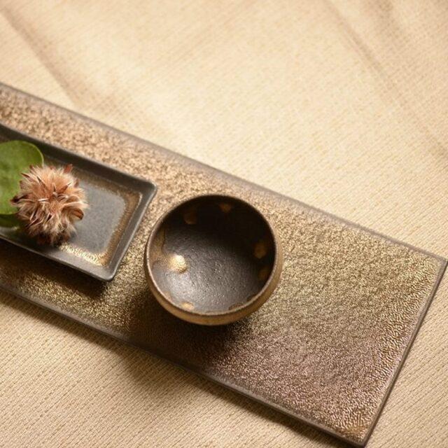 奥田章 金彩板皿 11×36cm